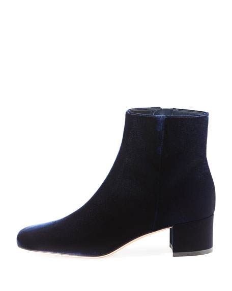 Square-Toe Velvet Booties