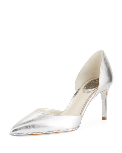 75mm Metallic Leather Pump with Crystal Trim