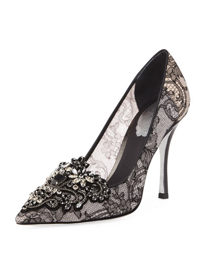 Lace Glitter-Sole Pumps with Crystals
