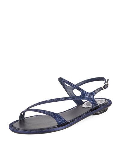 Flat Crystal Strappy Sandal