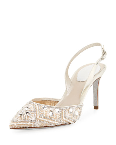 Lace Slingback Pointed Pump
