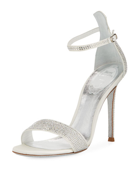 RENÉ CAOVILLA Celebrita Crystal-Embellished Metallic Satin And Leather Sandals, Silver