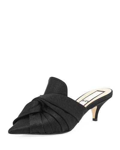 Knotted Satin Slide Mule