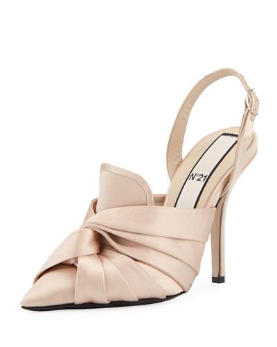 Knotted Satin Slingback Sandal