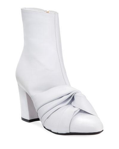 Leather Knot Block-Heel Booties