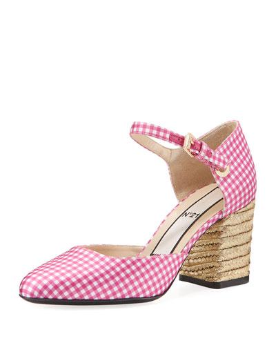 Gingham Jute-Heel Sandal Pump