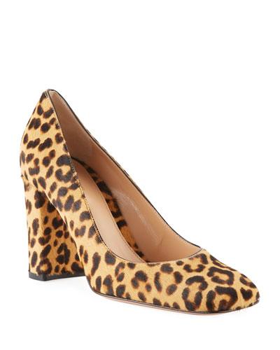 Square-Toe Leopard-Print Fur Pumps