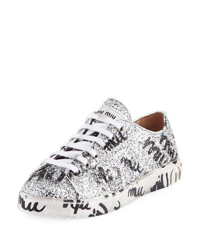 8e26da8a3e4a Miu Miu Logo Glitter Platform Sneakers