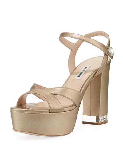 Chunky-Heel Napa Platform Sandals