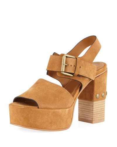Stud-Heel Suede Platform Sandal