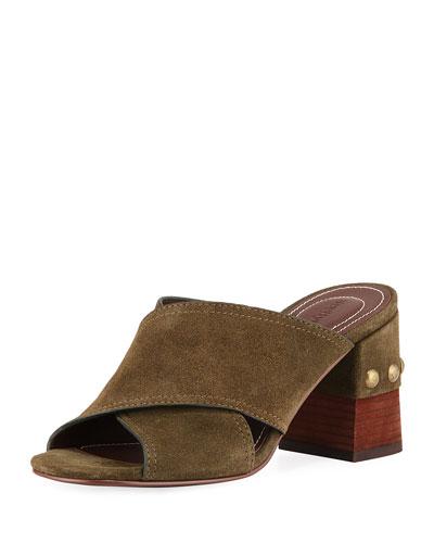 Suede Crisscross Mule Sandal