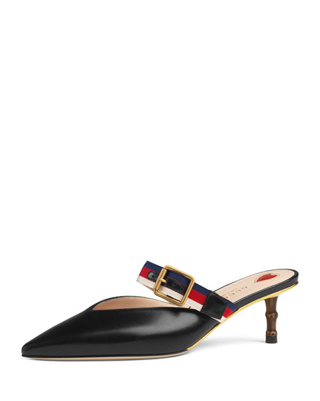 Leather Mule Pumps with Bamboo Heel