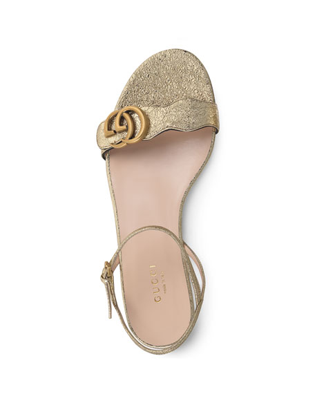 2e94b6616718 Gucci Marmont Flat Double-G Metallic Leather Sandals