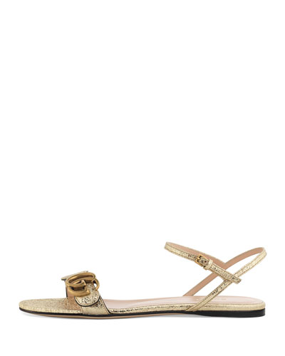 Flat Double-G Metallic Leather Sandals