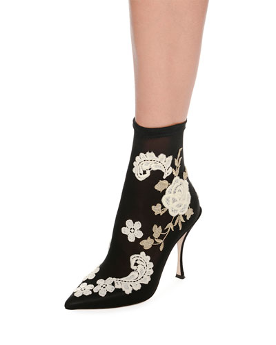 Embroidered-Knit Sock Ankle Bootie