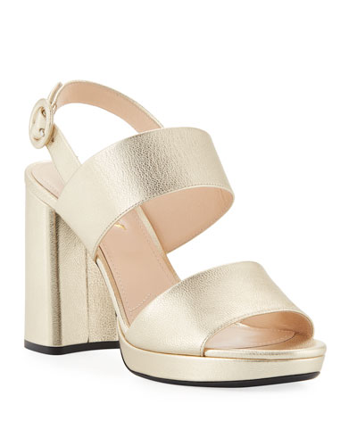 Metallic Platform Slingback Sandal