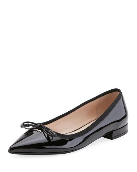 a39ff1645 Prada Women's Leather Ballet Flats Ballerinas In Black | ModeSens