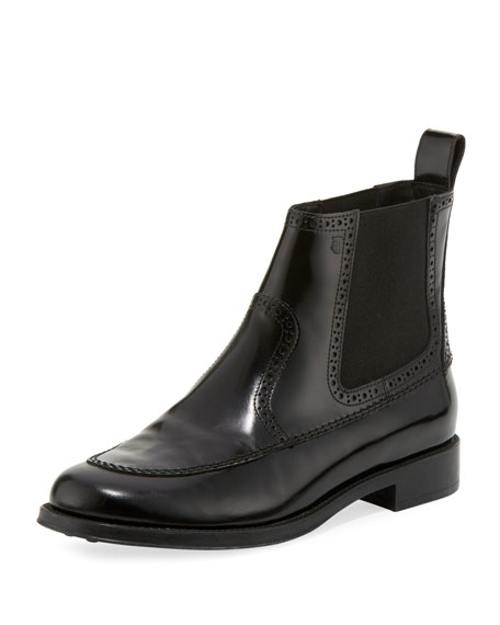 Image 1 of 1: Brogue Leather Chelsea Boots