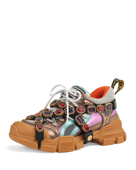Gucci Flashtrek Metallic Leather Hiker Sneaker With Chain
