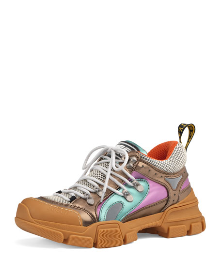 Flashtrek Metallic Leather Hiker Sneaker With Chain Strap