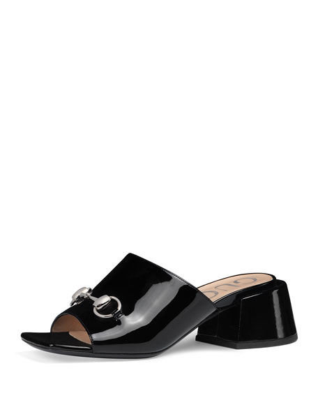Patent Leather Mid-Heel Slides in Black