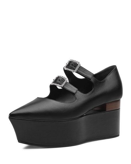 Leather Flatform Mary Jane Pumps