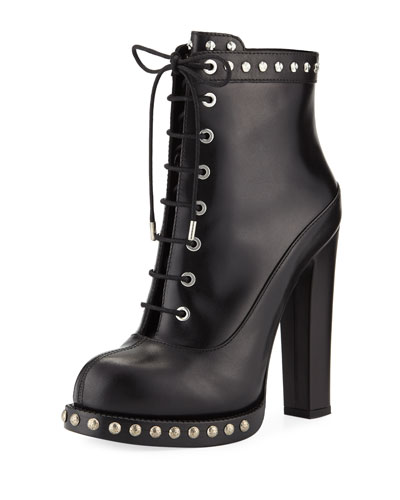Studded Calf Platform Booties
