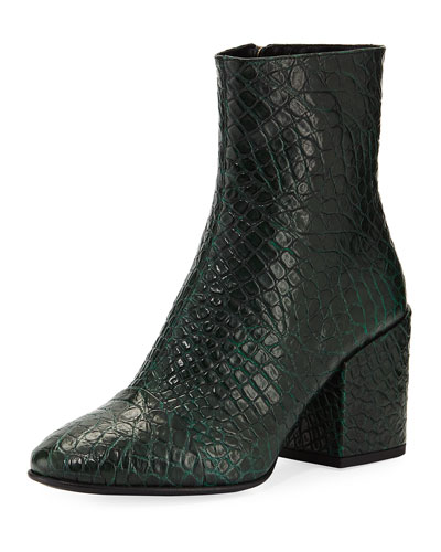 Embossed Leather Ankle Booties