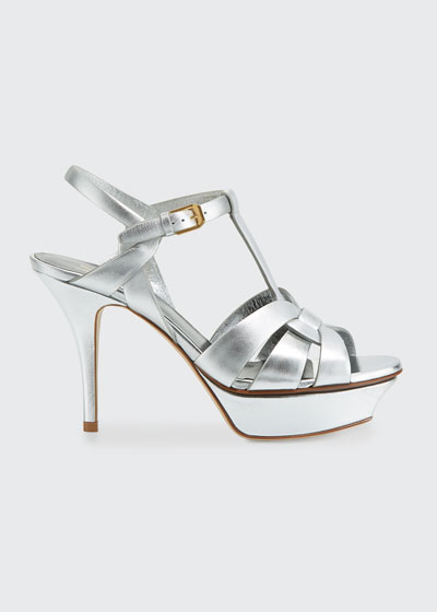 Tribute Metallic Leather Platform Sandals
