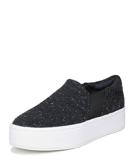 Warren Tweed Platform Skate Sneakers in Black