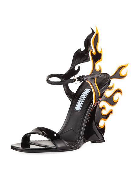 Flame Patent Leather Sandal by Prada