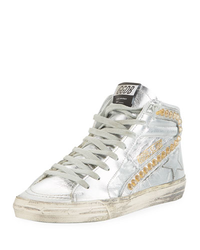 Slide Metallic High-Top Sneakers