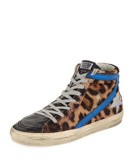 Slide Leopard High-Top Sneakers in U4 Leopard Pony Shadow Bluette