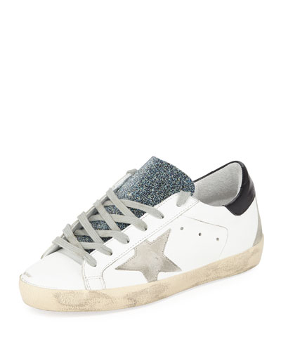 Superstar Leather Low-Top Sneakers with Glitter Tongue