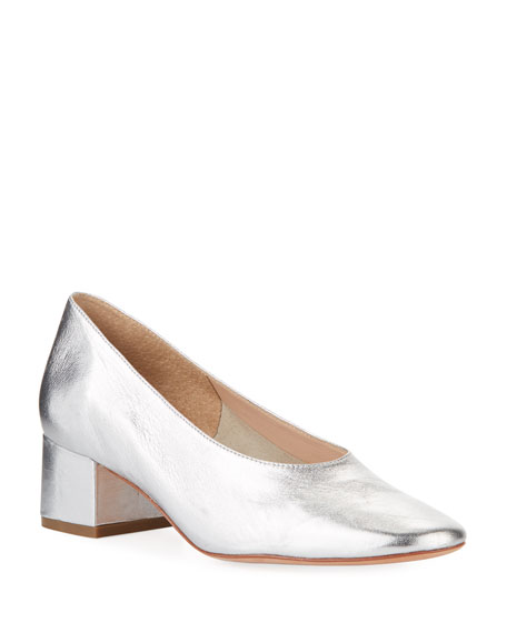 Brooks Metallic Leather Mid-Heel Pumps