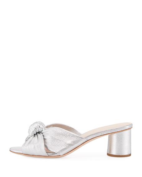 Celeste Metallic Leather Block-Heel Slide Sandal