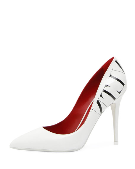 Vltn Patent Pointed-Toe Pumps in White