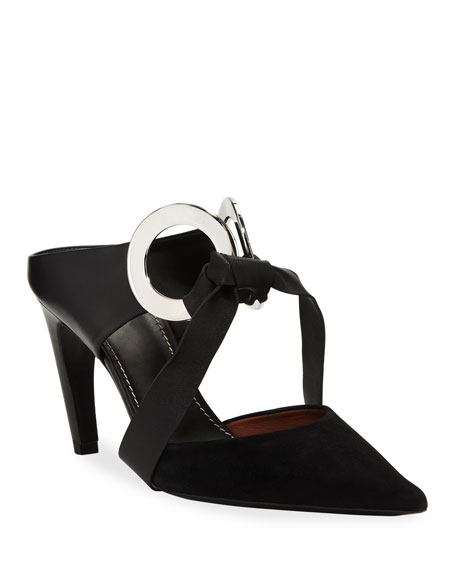 Proenza Schouler Knotted Suede & Leather Mules