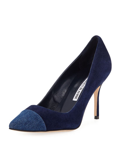 Bipunta 90mm Suede Cap-Toe Pump