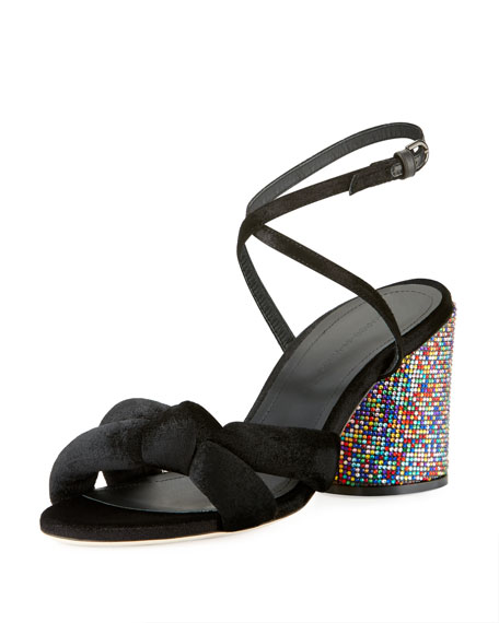 Marco De Vincenzo Knotted Speckled Block-Heel Sandals