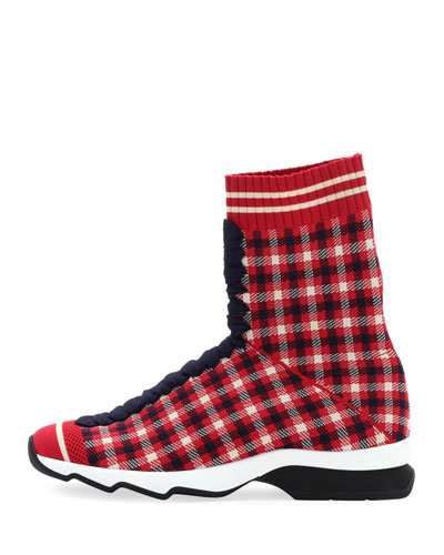 Rockoko Plaid Sock Sneakers