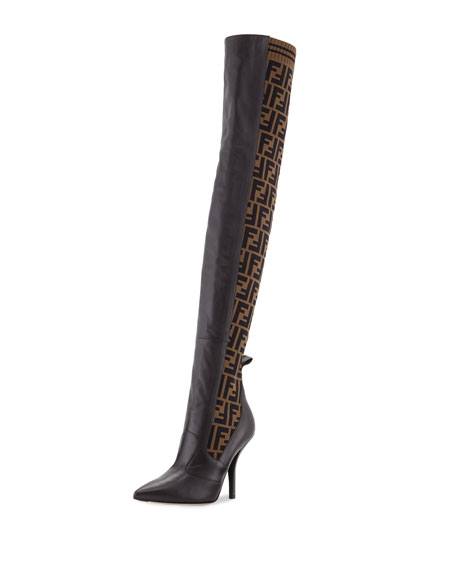 FF-Panel Leather Over-the-Knee Knit Boot