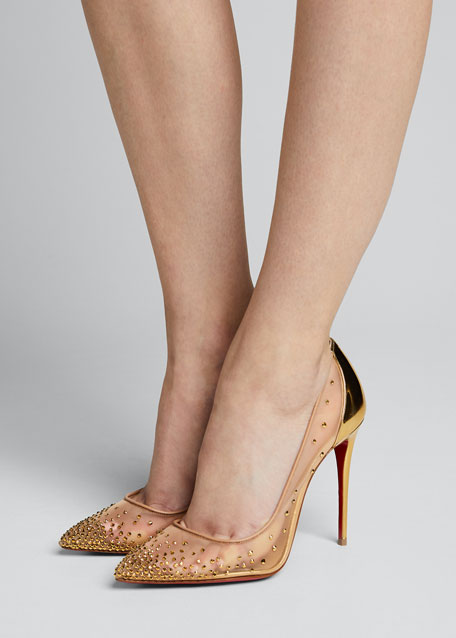 Follies Strass Crystal Mesh Red Sole Pumps