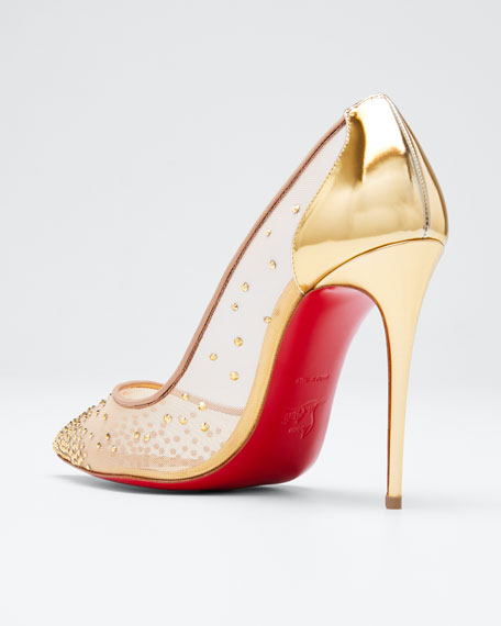 1fdef42de0db Christian Louboutin Follies Strass Crystal Mesh Red Sole Pumps