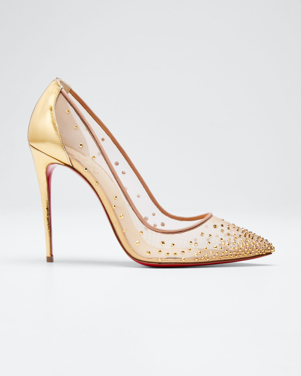 new concept b236a ce90c Follies Strass Crystal Mesh Red Sole Pumps