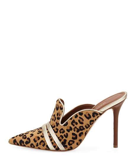 Hayley Leopard-Print High Mules w/ Double Straps