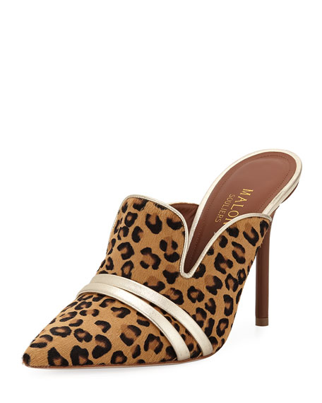 Malone Souliers Hayley Leopard-Print High Mules w/ Double