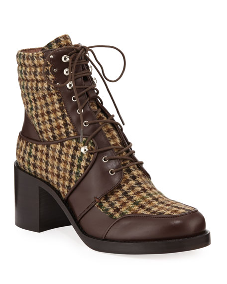 Leo Houndstooth Lace-Up Mixed Booties