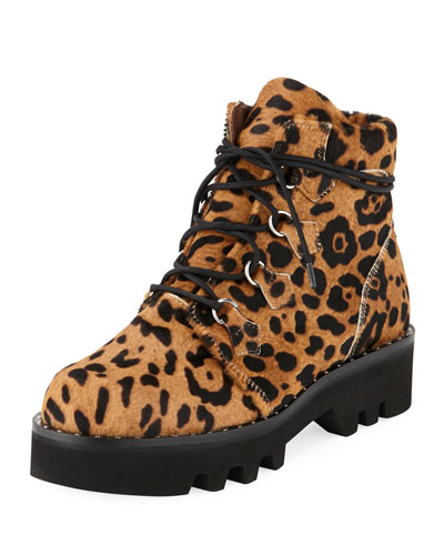 Neir Lace-Up Lug-Sole Booties, Leopard