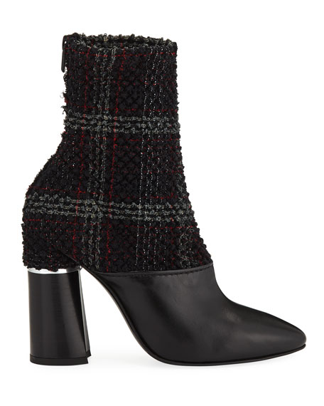 Plaid Boucle Stretch 105mm Ankle Booties